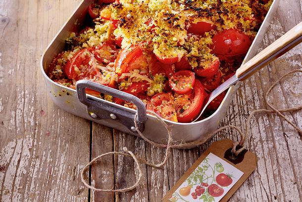 Tomatencrumble mit Parmesan-Panko-Kruste