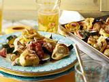 """Tortellini vom Blech mit Schinken und Zucchini (""""Saunudeln"""") Rezept"""