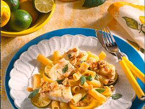 Tortiglioni mit Fisch in Nussbutter Rezept