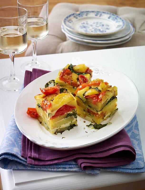 Tortilla mit Tomaten und Spinat Rezept