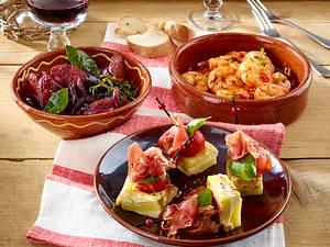 Tortillawürfel mit Tomate und Serranoschinken Rezept