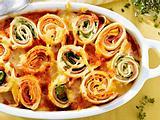 Überbackene Gemüse-Pfannkuchen mit Schinken Rezept