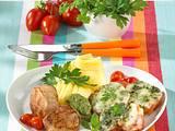 Überbackene Kräutertomaten mit Mozzarella zu Schweinefilet Rezept