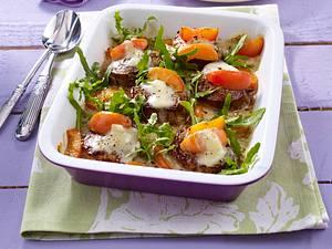 Überbackene Medaillons mit Aprikosen und Gorgonzola Rezept