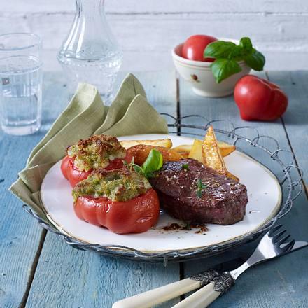 Überbackene Ofen-Tomaten mit Filetsteak Rezept