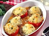 Überbackene Tomaten und Champignons mit Kräuterrisotto gefüllt Rezept