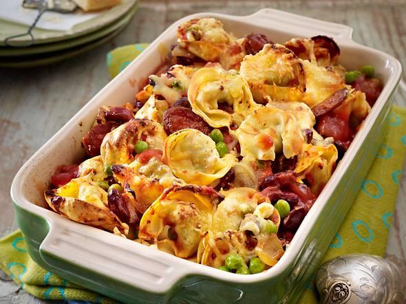 Überbackene Tortelloni mit Chorizo Rezept