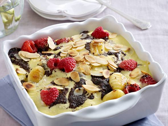 Überbackene Vanille-Gnocchi mit Himbeeren Rezept
