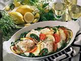 Überbackenes Fischfilet auf Gemüse Rezept