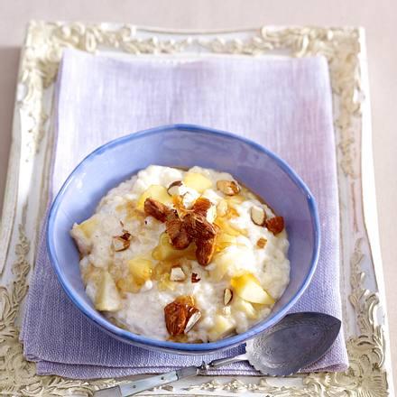 Vanille-Milchreis mit Äpfeln und Mandeln Rezept