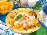 Vanille-Milchreis mit Mandelbutter und Pfirsichen Rezept