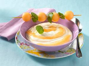 Vanille-Quarkspeise mit Honigmelonenspieß Rezept