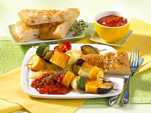 Vegetarische Halloumi-Gemüse-Spieße Rezept