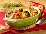 Vorher/nachher Kartoffel-Gemüseauflauf mit Schinken Rezept
