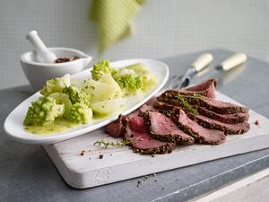 Warmes Roastbeef mit bunter Pfefferkruste und Gemüseplatte Rezept