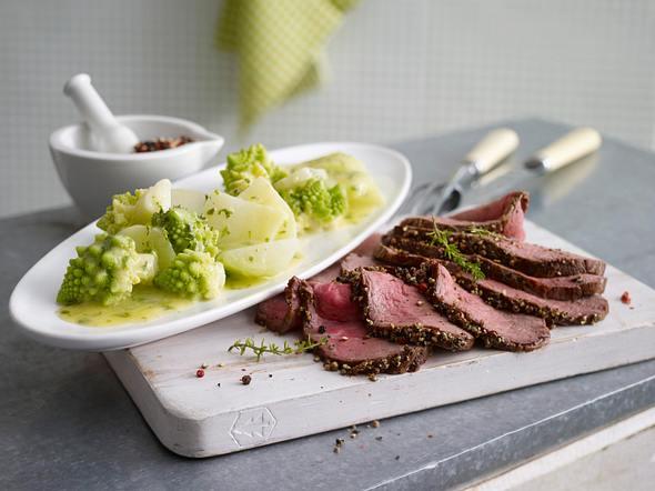 Warmes Roastbeef mit Romanesco & Kohlrabi Rezept