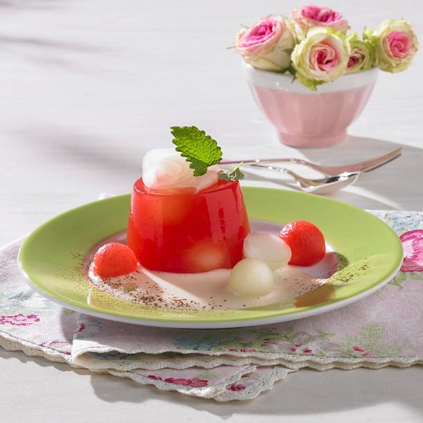 Wassermelonen-Gelee auf Zabaione Rezept