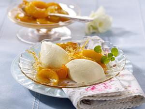Weiße Schokoladenmousse mit karamellisierten Pfirsichen Rezept