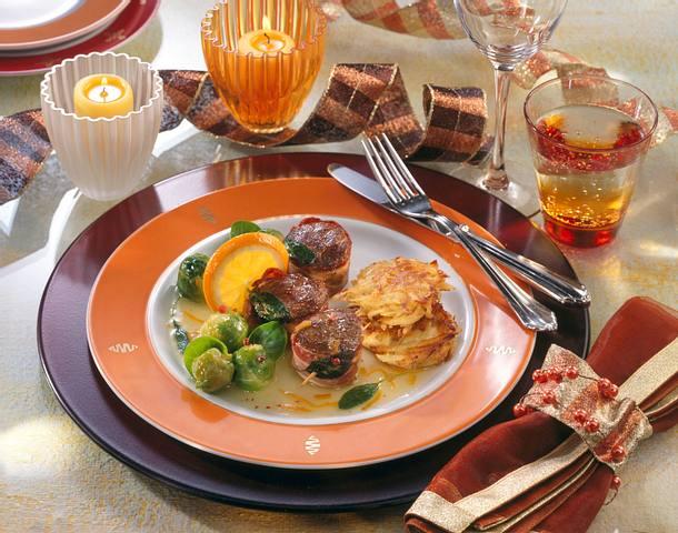 Wildmedaillons mit Orangen-Salbei-Soße Rezept