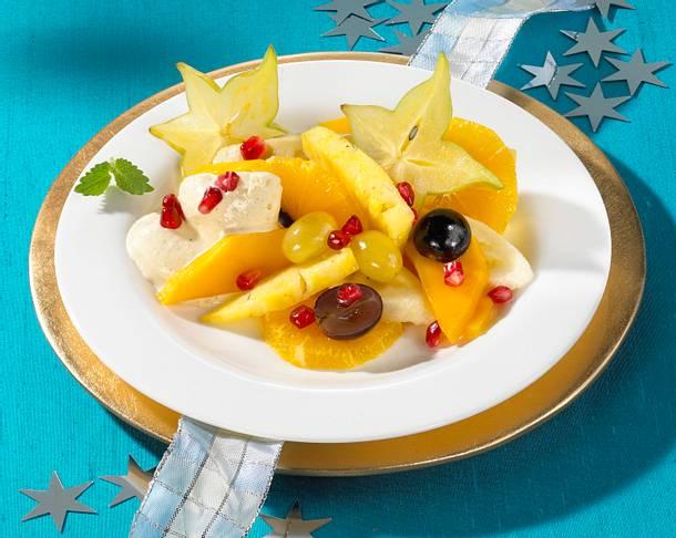 Winterlicher Obstsalat mit eiskalter Lebkuchen-Vanillesoße Rezept