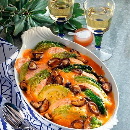 Wirsing-Lachs-Auflauf Rezept
