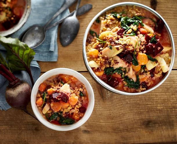 Wurzelgemüse-Linsen-Stew Rezept