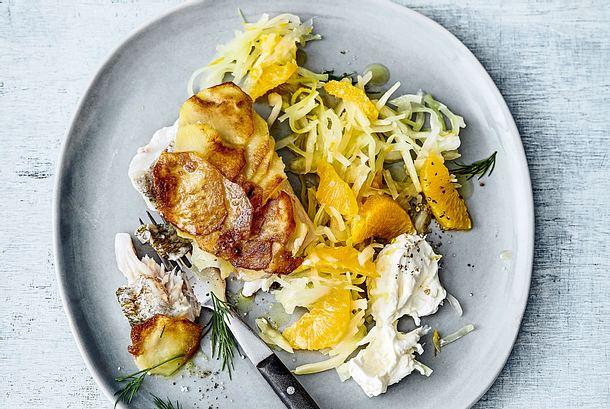 Zander mit Kartoffeln und Zitronenschmand Rezept