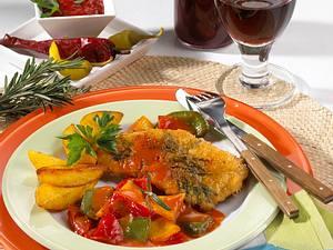 Zigeunerschnitzel mit Kartoffelspalten Rezept