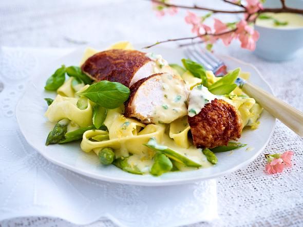 Zitronen-Basilikum-Soße zu Hähnchenbrust und Spargel Rezept