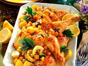 Zitronen-Hähnchen auf Röstgemüse Rezept