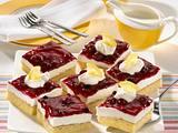Zitronenkuchen mit Quark-Sahne und Roter Grütze Rezept