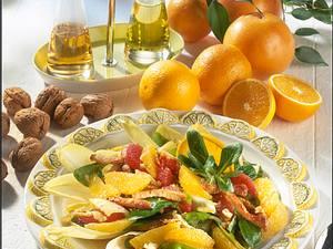 Zitrusfrucht-Salat mit gebratenen Putenstreifen Rezept