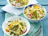 Zucchini-Couscous-Salat mit Radieschen und Möhren in Joghurtdressing Rezept