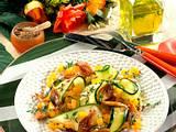 Zucchini mit lauwarmer Pilz-Paprika-Vinaigrette Rezept
