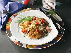 Zucchini-Möhren-Kartoffel-Puffer mit Austernpilzen Rezept