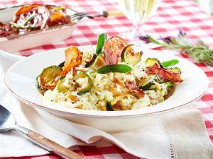 Zucchini-Risotto mit Knusper-Pancetta Rezept