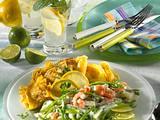 Zuckerschoten-Kohlrabi-Ragout in Zitronen-Bechamel-Soße mit Crêpes Rezept