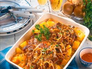 Zwiebel-Koteletts auf Kürbis-Kartoffeln Rezept