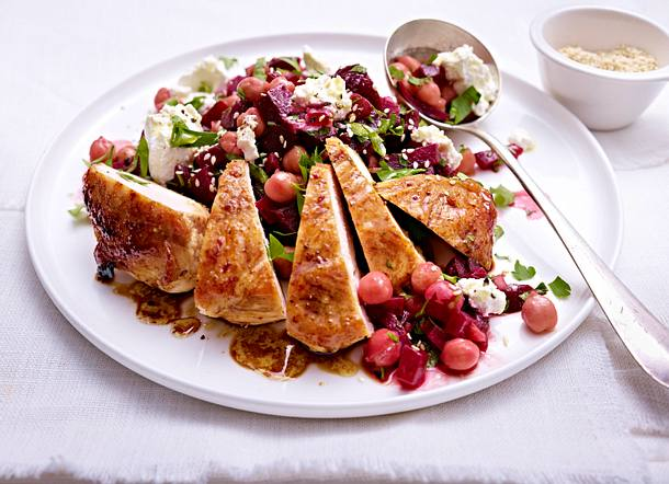Rote Bete Kichererbsen Salat Zu Hähnchenfilet Rezept Lecker