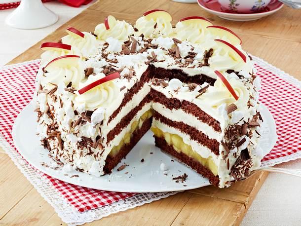 Schoko Apfel Torte Rezept Lecker