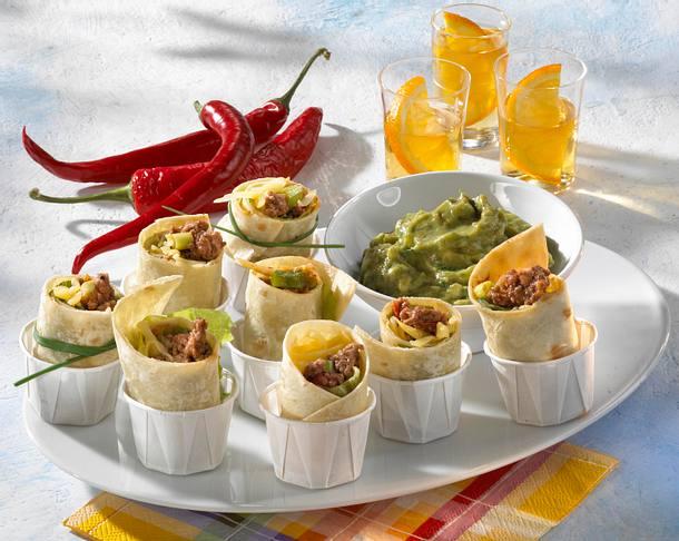 Mini Enchiladas Mit Guacamole Mit Frischen Tomaten Rezept Lecker