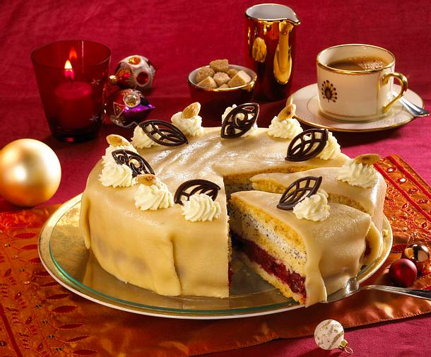 Kirsch Mohn Marzipan Torte Rezept Lecker