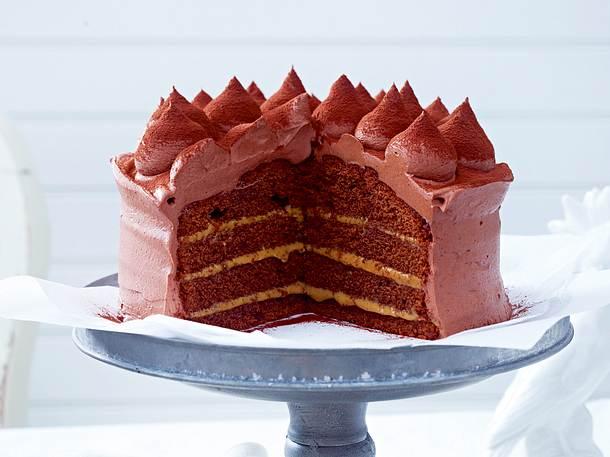Schokoladen Karamell Torte Mit Ganache Rezept Lecker