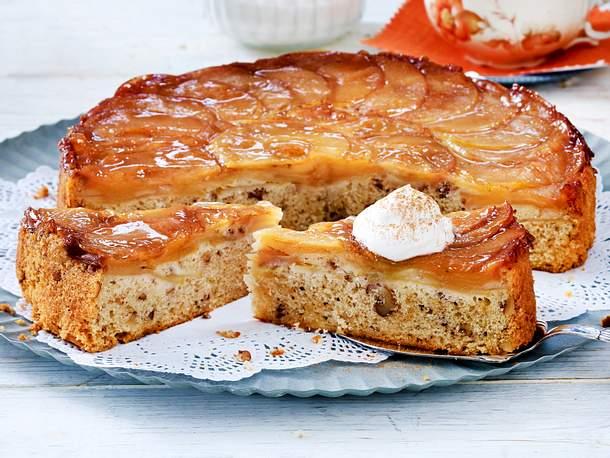 Gestürzter Apfel-Walnuss-Kuchen Rezept | LECKER