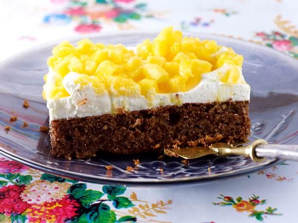 Haselnuss Schoko Kuchen Mit Mango Topping Rezept Lecker