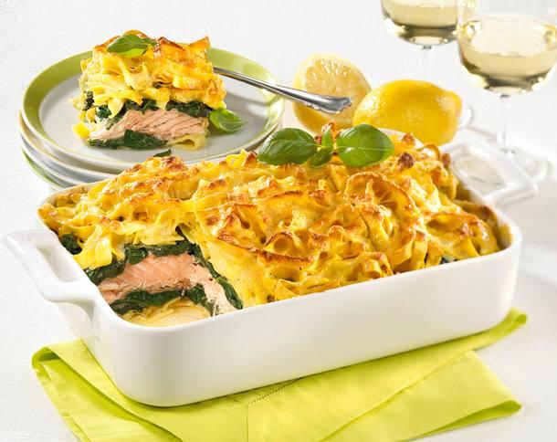 Lachs Tagliatelle Lasagne Mit Spinat Rezept Lecker