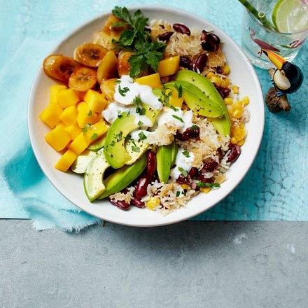 """""""Futter der Karibik""""-Reissalat mit Bohnen, Avocado und Mango Rezept"""