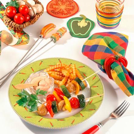 Gemüse-Schaschlik mit Dip Rezept