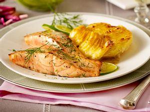 Dill-Lachs mit Kartoffel-Meerrettich-Gratin Rezept
