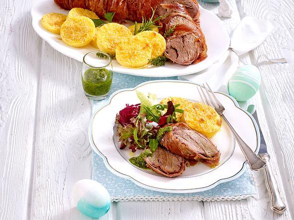 Schweinefilet im Parmaschinken-Mantel mit Rucola-Salsa-Verde (TITEL TIK #4) Rezept